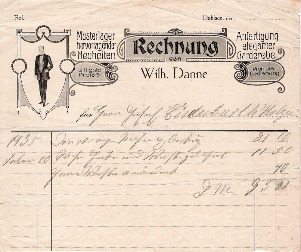 Rechnung Schneiderei