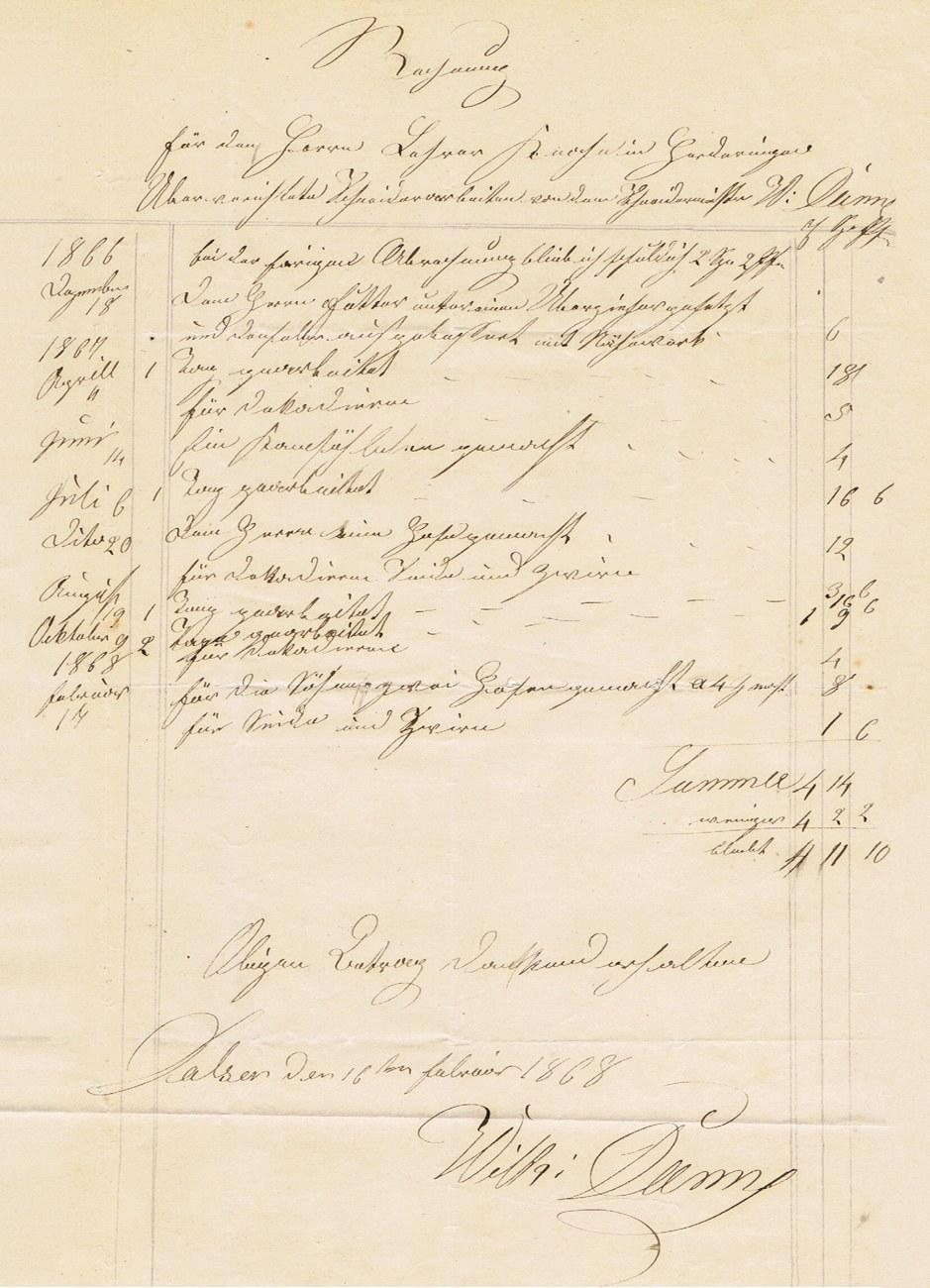 Rechnung Schneidermeister Wilhelm Danne an Rechenmeister Heinrich Knoche Herdringen 1868